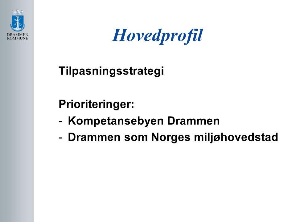 Hovedprofil Tilpasningsstrategi Prioriteringer: -Kompetansebyen Drammen -Drammen som Norges miljøhovedstad