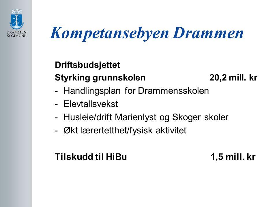 Kompetansebyen Drammen Driftsbudsjettet Styrking grunnskolen 20,2 mill.