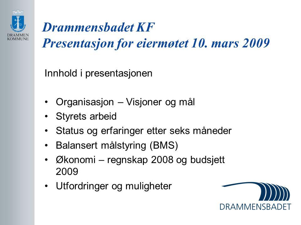 Drammensbadet KF Presentasjon for eiermøtet 10. mars 2009 Innhold i presentasjonen Organisasjon – Visjoner og mål Styrets arbeid Status og erfaringer
