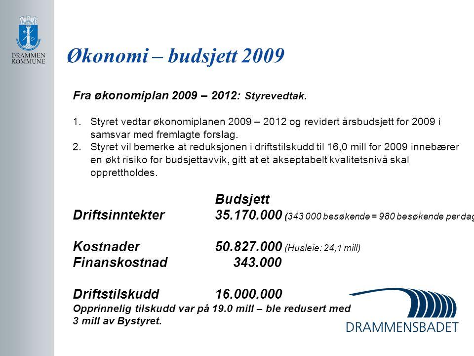 Økonomi – budsjett 2009 Fra økonomiplan 2009 – 2012: Styrevedtak. 1.Styret vedtar økonomiplanen 2009 – 2012 og revidert årsbudsjett for 2009 i samsvar