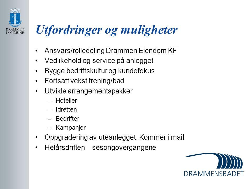 Utfordringer og muligheter Ansvars/rolledeling Drammen Eiendom KF Vedlikehold og service på anlegget Bygge bedriftskultur og kundefokus Fortsatt vekst
