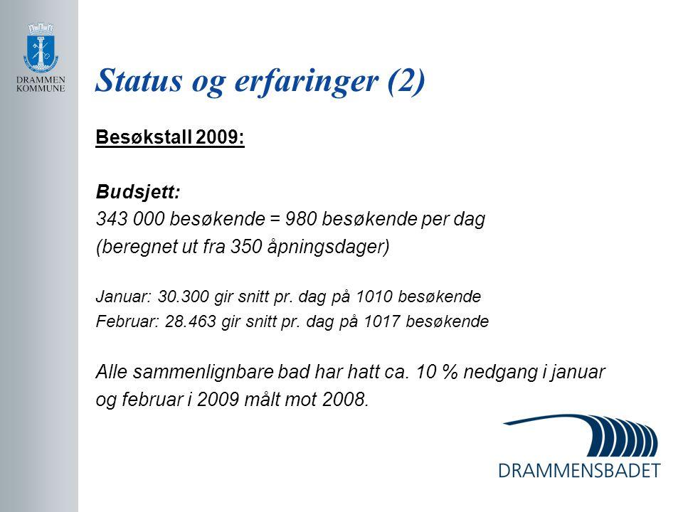 Status og erfaringer (2) Besøkstall 2009: Budsjett: 343 000 besøkende = 980 besøkende per dag (beregnet ut fra 350 åpningsdager) Januar: 30.300 gir sn