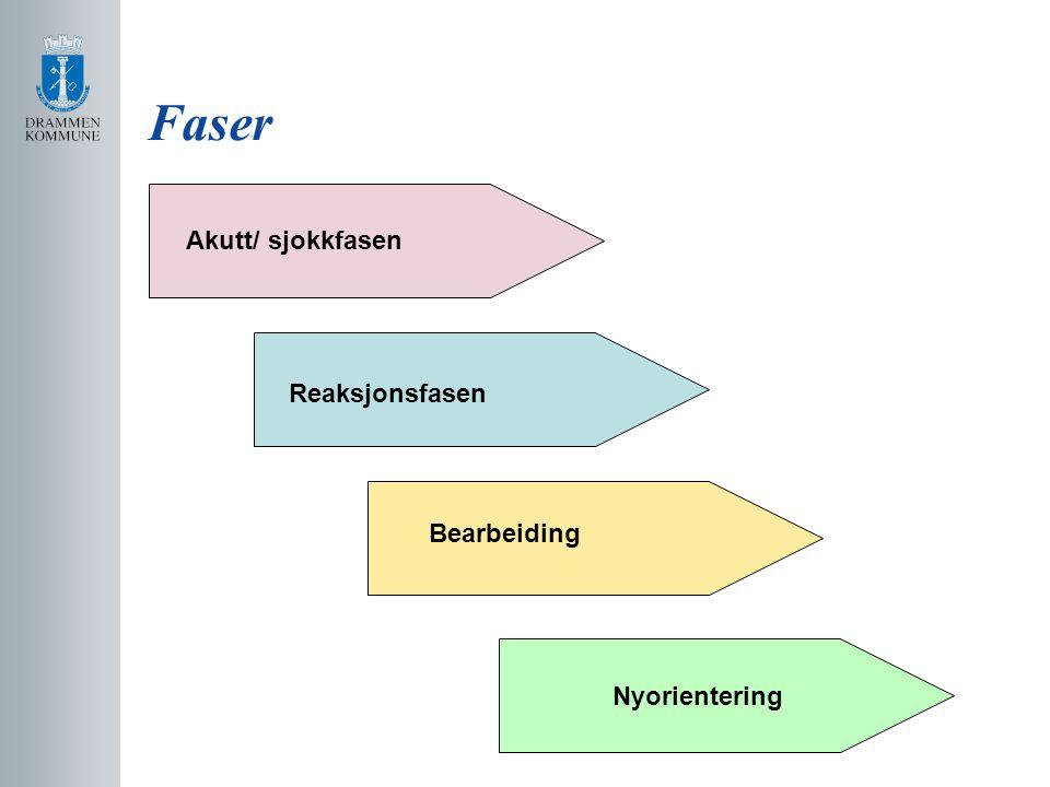 Faser Nyorientering Akutt/ sjokkfasen Reaksjonsfasen Bearbeiding