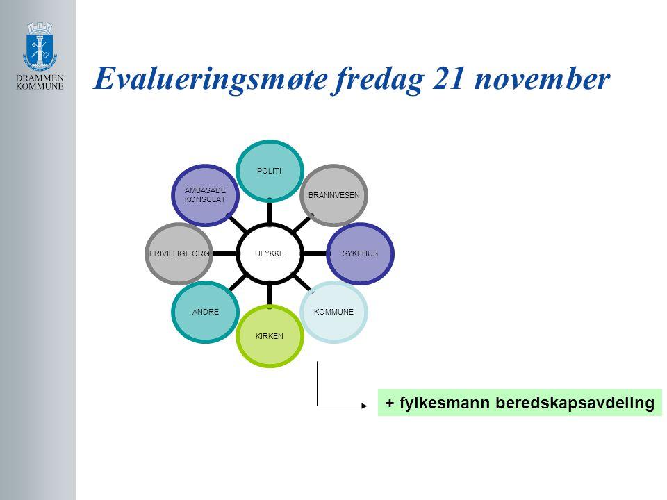 Evalueringsmøte fredag 21 november ULYKKE POLITIBRANNVESENSYKEHUSKOMMUNEKIRKENANDRE FRIVILLIGE ORG AMBASADE KONSULAT + fylkesmann beredskapsavdeling