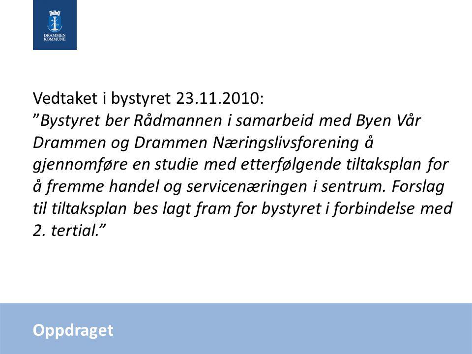 """Oppdraget Vedtaket i bystyret 23.11.2010: """"Bystyret ber Rådmannen i samarbeid med Byen Vår Drammen og Drammen Næringslivsforening å gjennomføre en stu"""