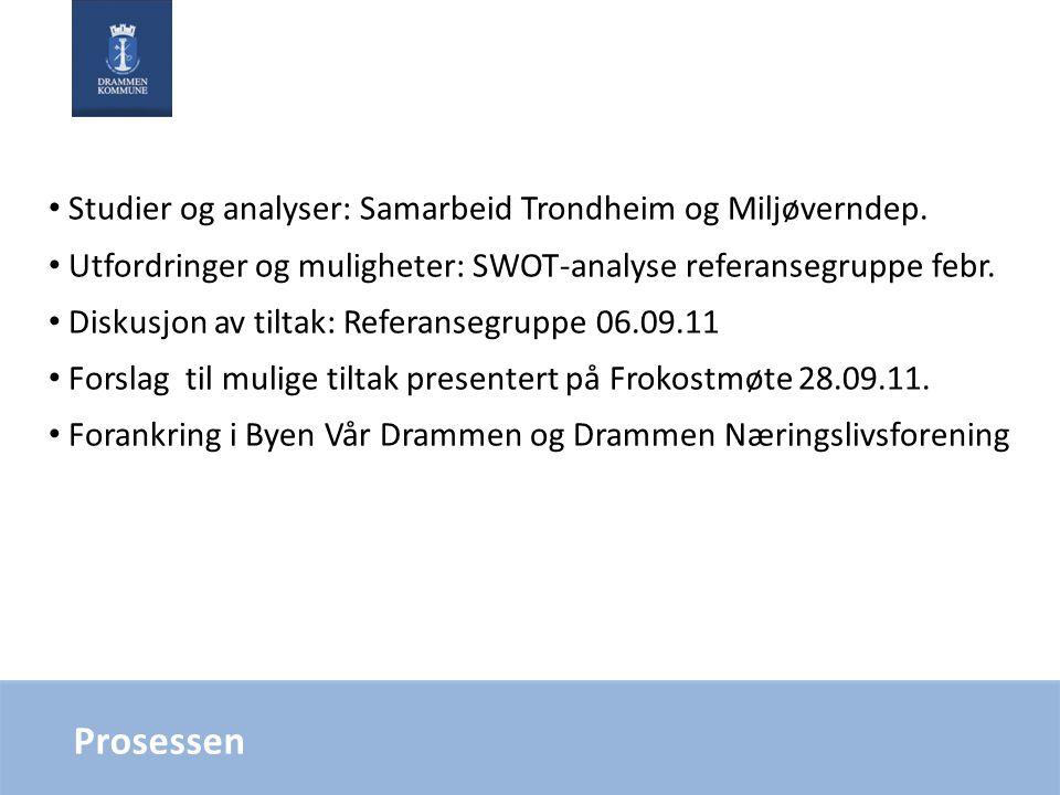 Prosessen Studier og analyser: Samarbeid Trondheim og Miljøverndep. Utfordringer og muligheter: SWOT-analyse referansegruppe febr. Diskusjon av tiltak