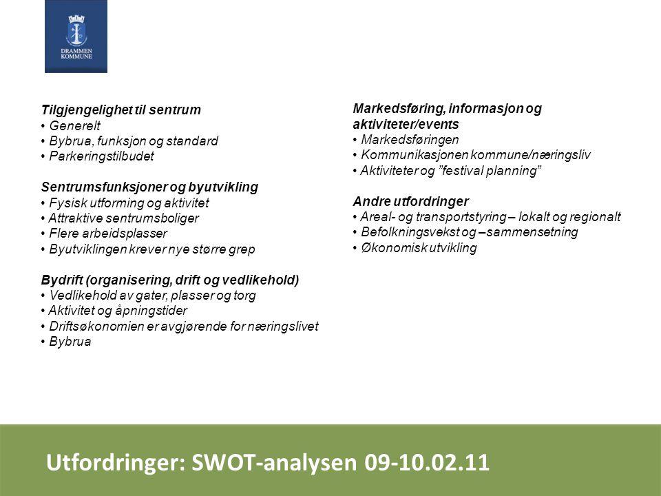Utfordringer: SWOT-analysen 09-10.02.11 Tilgjengelighet til sentrum Generelt Bybrua, funksjon og standard Parkeringstilbudet Sentrumsfunksjoner og byu