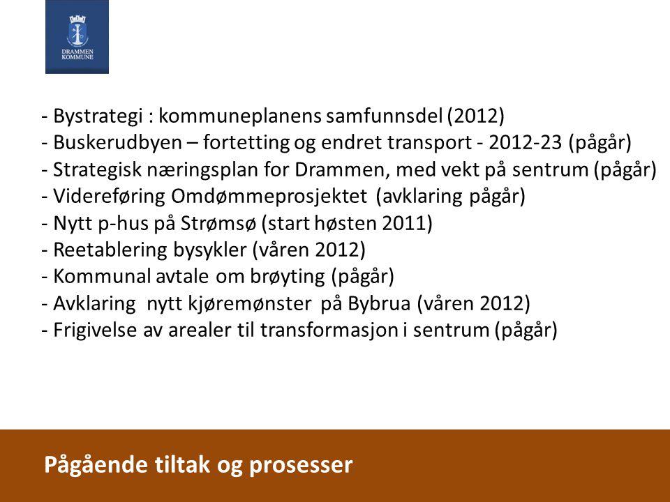 - Bystrategi : kommuneplanens samfunnsdel (2012) - Buskerudbyen – fortetting og endret transport - 2012-23 (pågår) - Strategisk næringsplan for Dramme