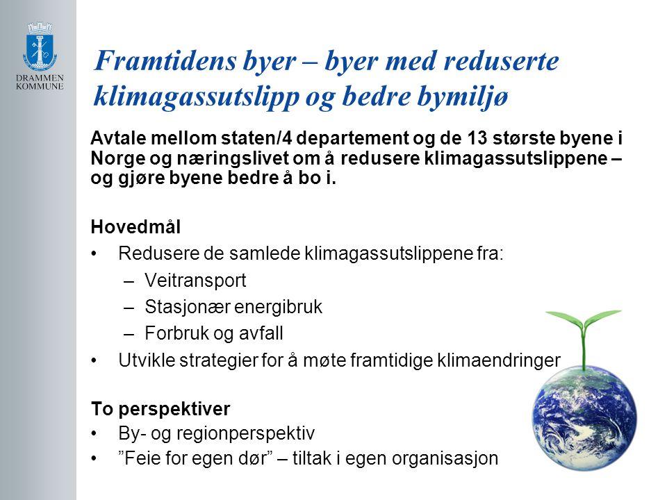 Avtale mellom staten/4 departement og de 13 største byene i Norge og næringslivet om å redusere klimagassutslippene – og gjøre byene bedre å bo i. Hov