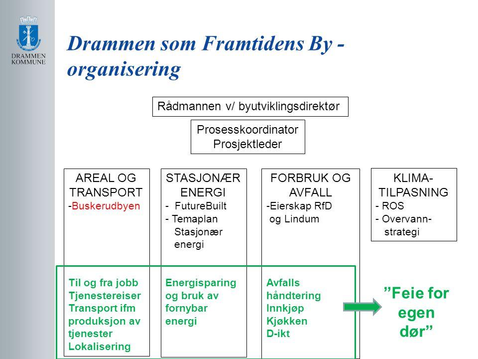 Drammen som Framtidens By - organisering Rådmannen v/ byutviklingsdirektør Prosesskoordinator Prosjektleder AREAL OG TRANSPORT -Buskerudbyen Til og fr