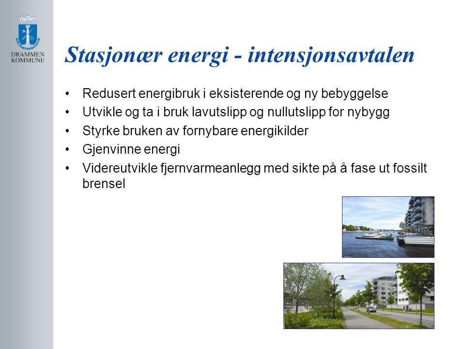 Stasjonær energi - intensjonsavtalen Redusert energibruk i eksisterende og ny bebyggelse Utvikle og ta i bruk lavutslipp og nullutslipp for nybygg Styrke bruken av fornybare energikilder Gjenvinne energi Videreutvikle fjernvarmeanlegg med sikte på å fase ut fossilt brensel