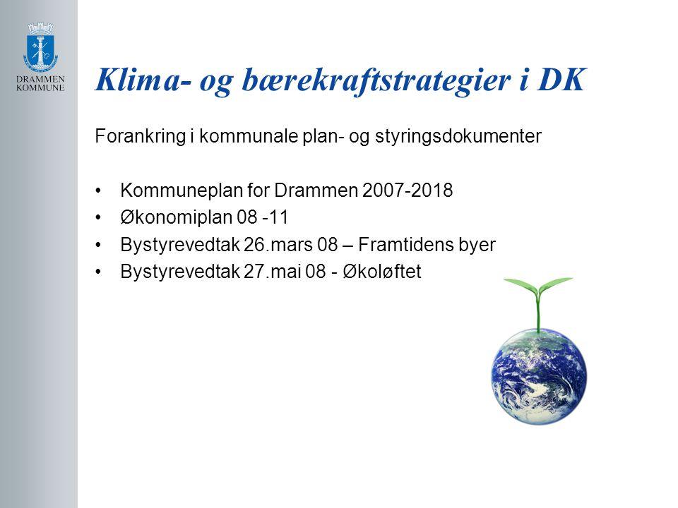 Klima- og bærekraftstrategier i DK Forankring i kommunale plan- og styringsdokumenter Kommuneplan for Drammen 2007-2018 Økonomiplan 08 -11 Bystyrevedtak 26.mars 08 – Framtidens byer Bystyrevedtak 27.mai 08 - Økoløftet