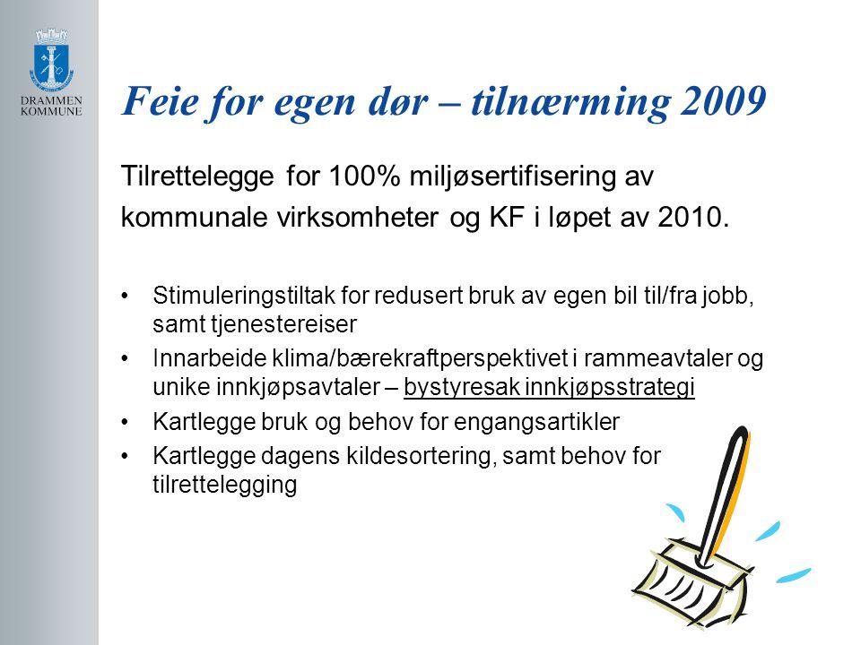 Feie for egen dør – tilnærming 2009 Tilrettelegge for 100% miljøsertifisering av kommunale virksomheter og KF i løpet av 2010.