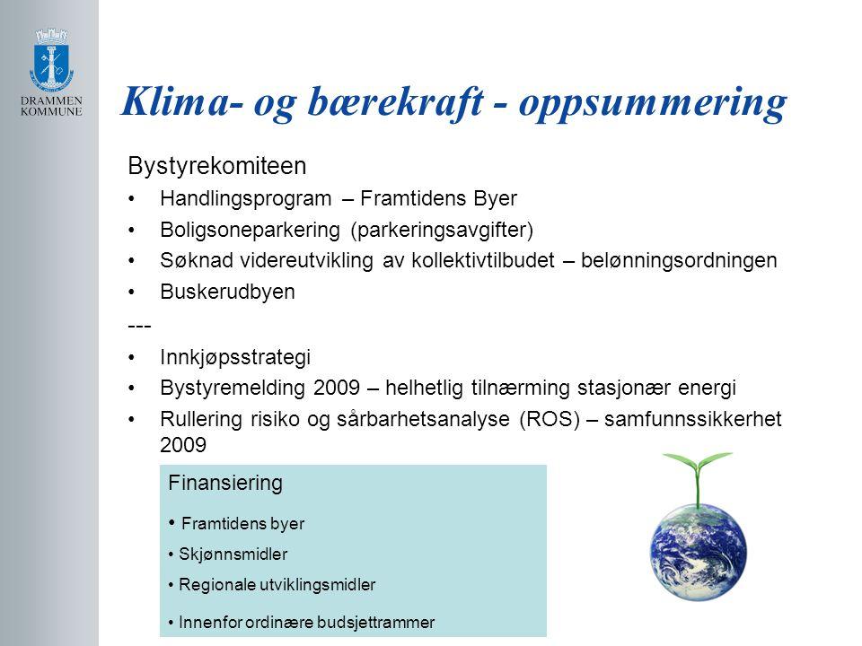 Klima- og bærekraft - oppsummering Bystyrekomiteen Handlingsprogram – Framtidens Byer Boligsoneparkering (parkeringsavgifter) Søknad videreutvikling av kollektivtilbudet – belønningsordningen Buskerudbyen --- Innkjøpsstrategi Bystyremelding 2009 – helhetlig tilnærming stasjonær energi Rullering risiko og sårbarhetsanalyse (ROS) – samfunnssikkerhet 2009 Finansiering Framtidens byer Skjønnsmidler Regionale utviklingsmidler Innenfor ordinære budsjettrammer