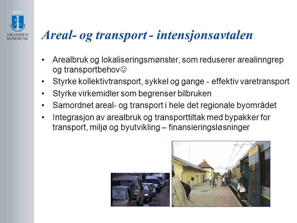 Areal- og transport - intensjonsavtalen Arealbruk og lokaliseringsmønster, som reduserer arealinngrep og transportbehov Styrke kollektivtransport, sykkel og gange - effektiv varetransport Styrke virkemidler som begrenser bilbruken Samordnet areal- og transport i hele det regionale byområdet Integrasjon av arealbruk og transporttiltak med bypakker for transport, miljø og byutvikling – finansieringsløsninger