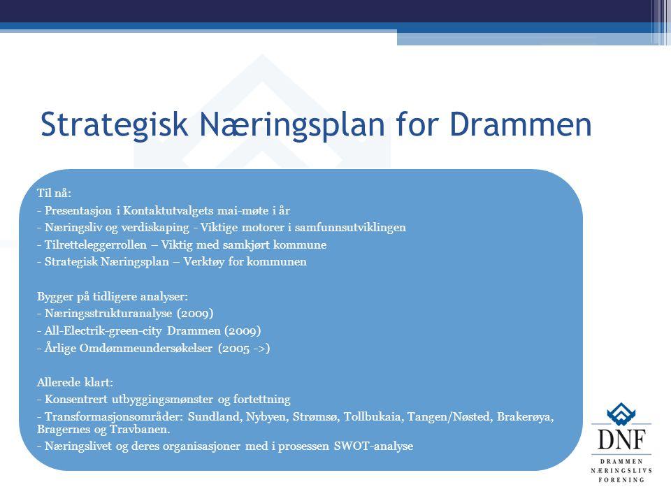Strategisk Næringsplan for Drammen Til nå: - Presentasjon i Kontaktutvalgets mai-møte i år - Næringsliv og verdiskaping - Viktige motorer i samfunnsut