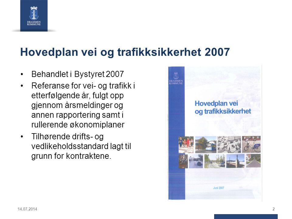 Hovedplan vei og trafikksikkerhet 2007 Behandlet i Bystyret 2007 Referanse for vei- og trafikk i etterfølgende år, fulgt opp gjennom årsmeldinger og annen rapportering samt i rullerende økonomiplaner Tilhørende drifts- og vedlikeholdsstandard lagt til grunn for kontraktene.