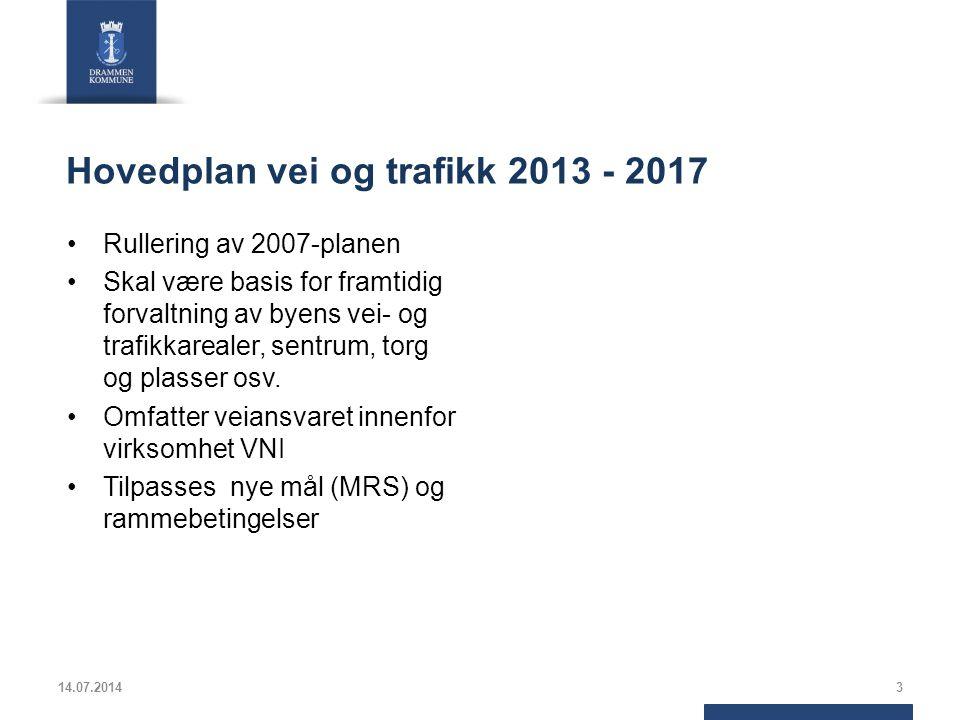 Hovedplan vei og trafikk 2013 - 2017 Rullering av 2007-planen Skal være basis for framtidig forvaltning av byens vei- og trafikkarealer, sentrum, torg og plasser osv.