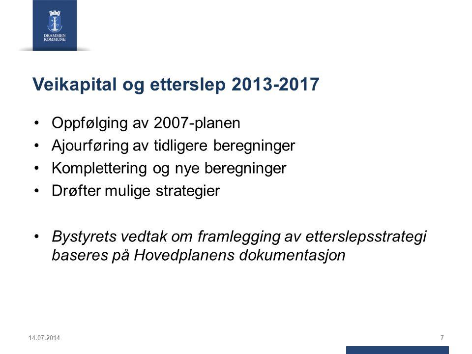Veikapital og etterslep 2013-2017 Oppfølging av 2007-planen Ajourføring av tidligere beregninger Komplettering og nye beregninger Drøfter mulige strategier Bystyrets vedtak om framlegging av etterslepsstrategi baseres på Hovedplanens dokumentasjon 14.07.20147