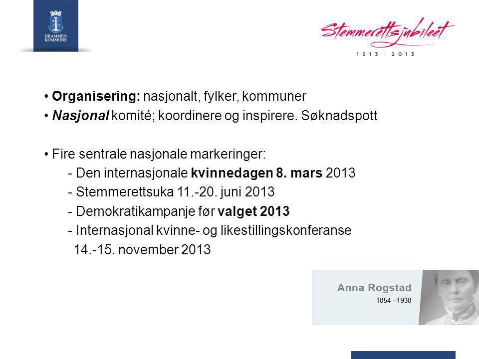 Organisering: nasjonalt, fylker, kommuner Nasjonal komité; koordinere og inspirere.