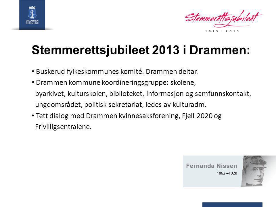 Foreløpige planer: Temaside for Stemmerettsjubileet knyttet opp mot www.drammenkommune.no.www.drammenkommune.no Info om arrangementer i Drammen, linker til den sentrale jubileumssiden og hjemmesider til aktører i Drammen 8.
