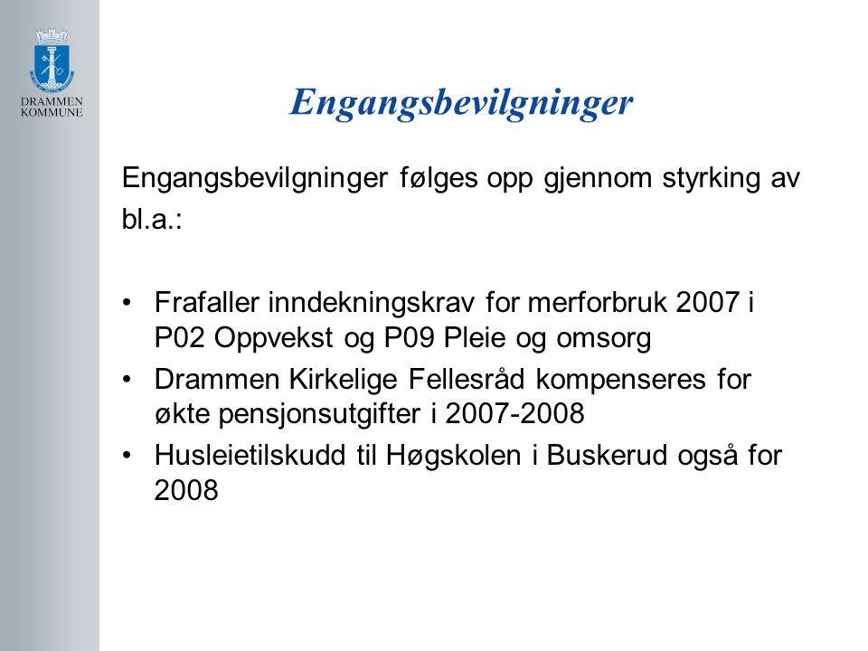 Engangsbevilgninger Engangsbevilgninger følges opp gjennom styrking av bl.a.: Frafaller inndekningskrav for merforbruk 2007 i P02 Oppvekst og P09 Pleie og omsorg Drammen Kirkelige Fellesråd kompenseres for økte pensjonsutgifter i 2007-2008 Husleietilskudd til Høgskolen i Buskerud også for 2008