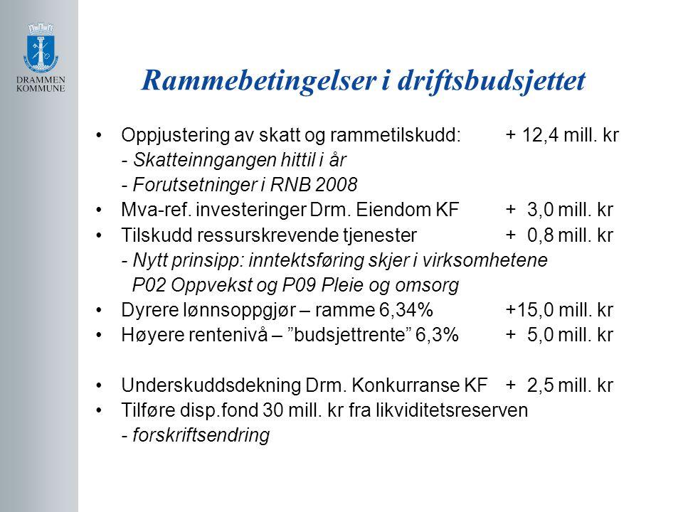 Rammebetingelser i driftsbudsjettet Oppjustering av skatt og rammetilskudd: + 12,4 mill.
