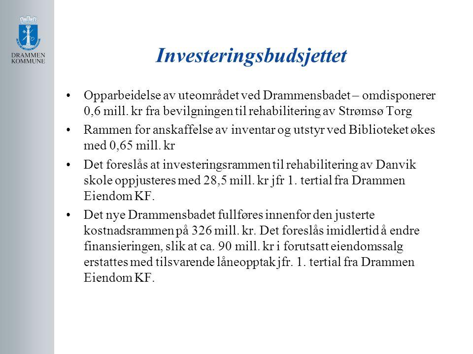 Investeringsbudsjettet Opparbeidelse av uteområdet ved Drammensbadet – omdisponerer 0,6 mill.