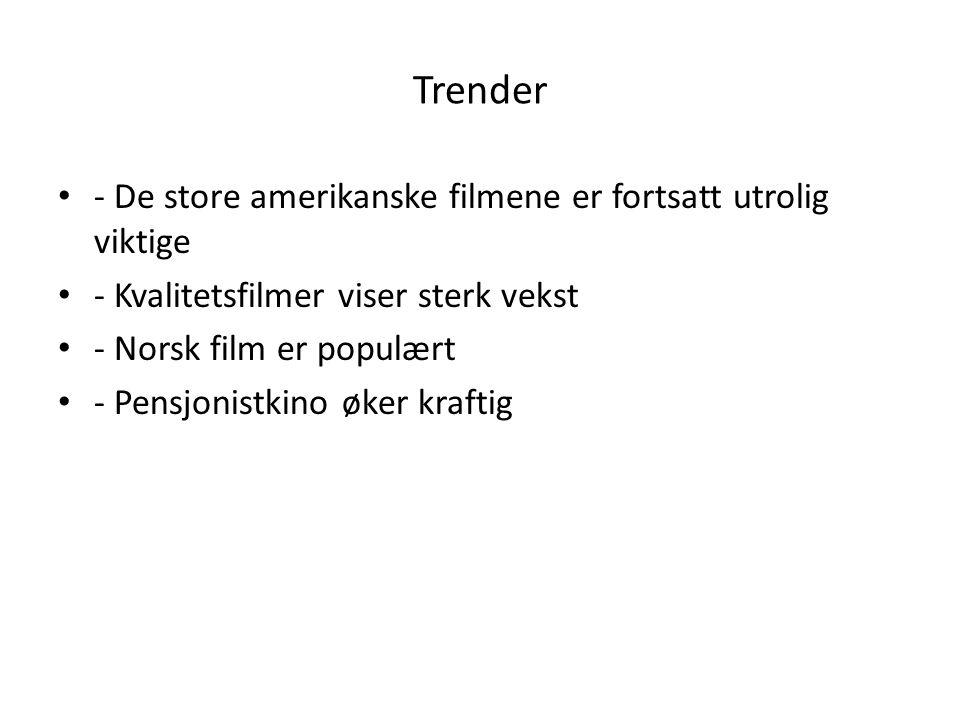 Trender - De store amerikanske filmene er fortsatt utrolig viktige - Kvalitetsfilmer viser sterk vekst - Norsk film er populært - Pensjonistkino øker kraftig
