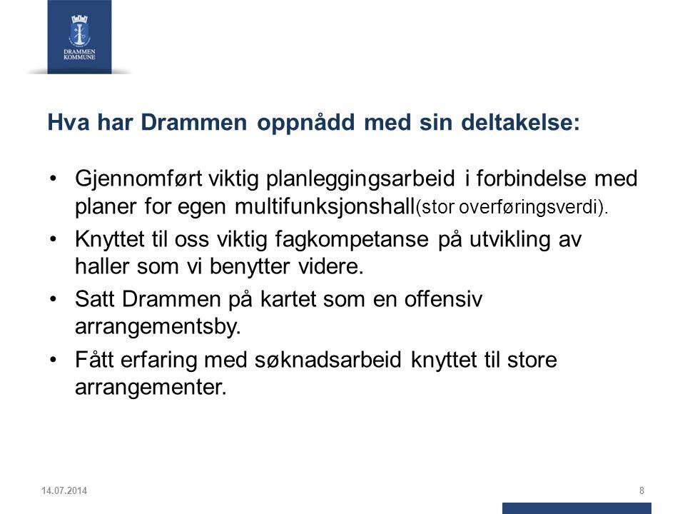 Hva har Drammen oppnådd med sin deltakelse: Gjennomført viktig planleggingsarbeid i forbindelse med planer for egen multifunksjonshall (stor overførin