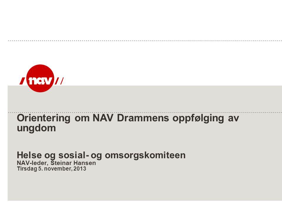 Orientering om NAV Drammens oppfølging av ungdom Helse og sosial- og omsorgskomiteen NAV-leder, Steinar Hansen Tirsdag 5. november, 2013
