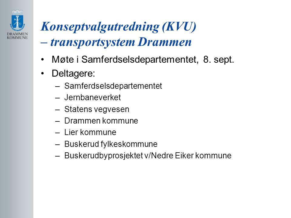 Konseptvalgutredning (KVU) – transportsystem Drammen Møte i Samferdselsdepartementet, 8.
