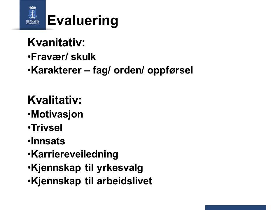 Evaluering Kvanitativ: Fravær/ skulk Karakterer – fag/ orden/ oppførsel Kvalitativ: Motivasjon Trivsel Innsats Karriereveiledning Kjennskap til yrkesv