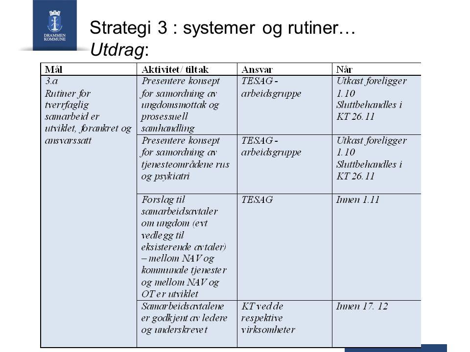 Strategi 3 : systemer og rutiner… Utdrag: