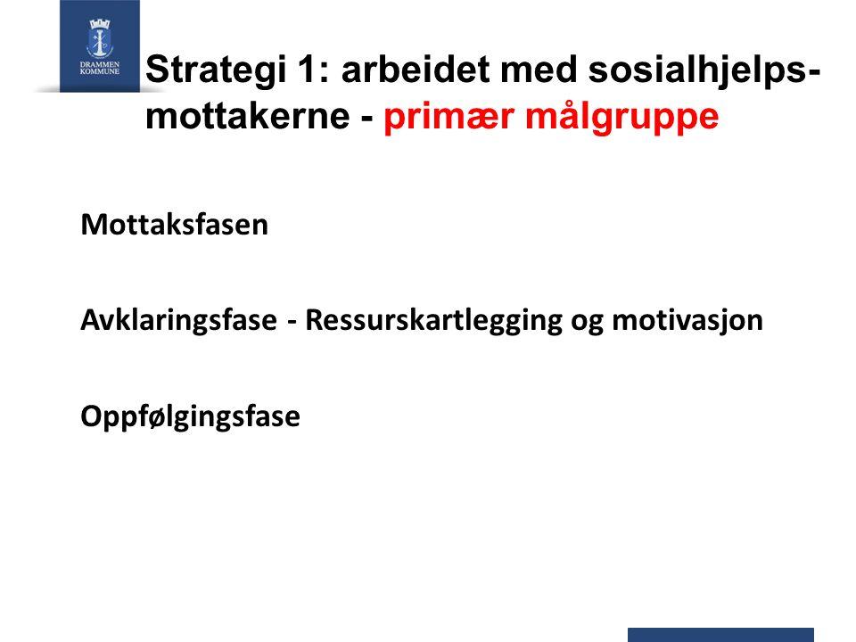 Strategi 1: arbeidet med sosialhjelps- mottakerne - primær målgruppe Mottaksfasen Avklaringsfase - Ressurskartlegging og motivasjon Oppfølgingsfase