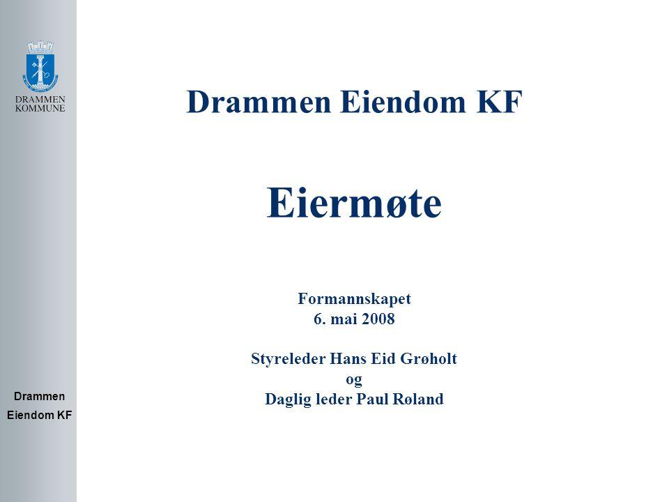 DEKF's rolle i Drammen kommune Drammen Eiendom KF 1.Eierfunksjon Ivareta kommunens eierinteresser i bygninger, grunneiendommer og boliger Utvikling av eiendom 2.Eiendomsforvalter Drift / HMS Vedlikehold og verdibevaring Utleie Innkjøp av renhold, energi, mv.