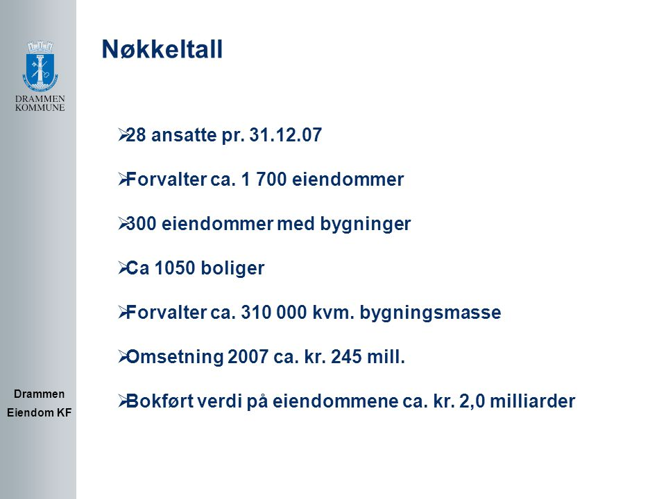 Hovedtall for 2007 Drammen Eiendom KF  Gjennomført investeringer i 2007 kr.