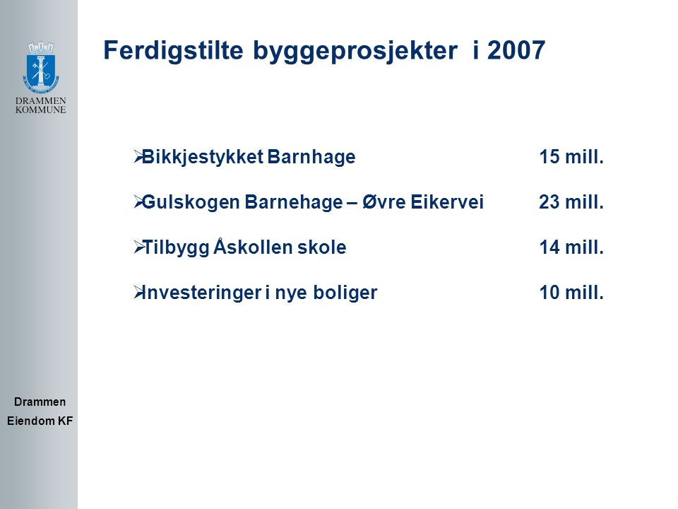 Prosjekter under arbeid Drammen Eiendom KF Budsjett  Drammensbadet 326 mill.