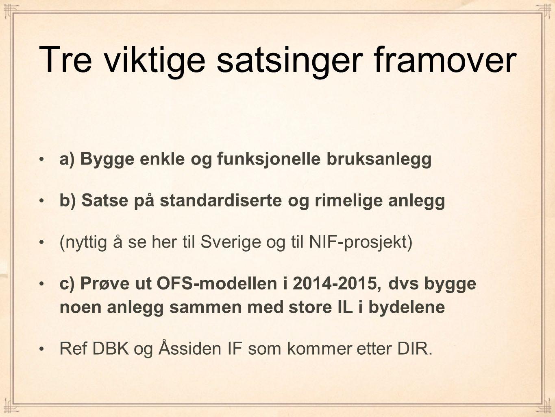 Tre viktige satsinger framover a) Bygge enkle og funksjonelle bruksanlegg b) Satse på standardiserte og rimelige anlegg (nyttig å se her til Sverige og til NIF-prosjekt) c) Prøve ut OFS-modellen i 2014-2015, dvs bygge noen anlegg sammen med store IL i bydelene Ref DBK og Åssiden IF som kommer etter DIR.