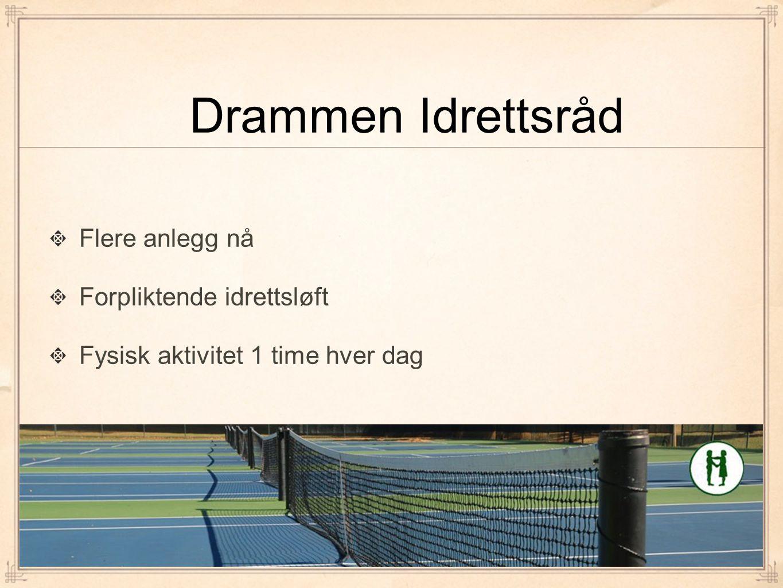 Drammen Idrettsråd Flere anlegg nå Forpliktende idrettsløft Fysisk aktivitet 1 time hver dag