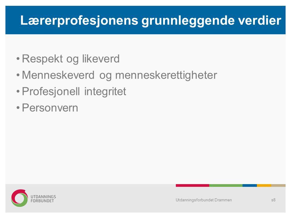 Lærerprofesjonens etiske plattform Utdanningsforbundet Drammens9