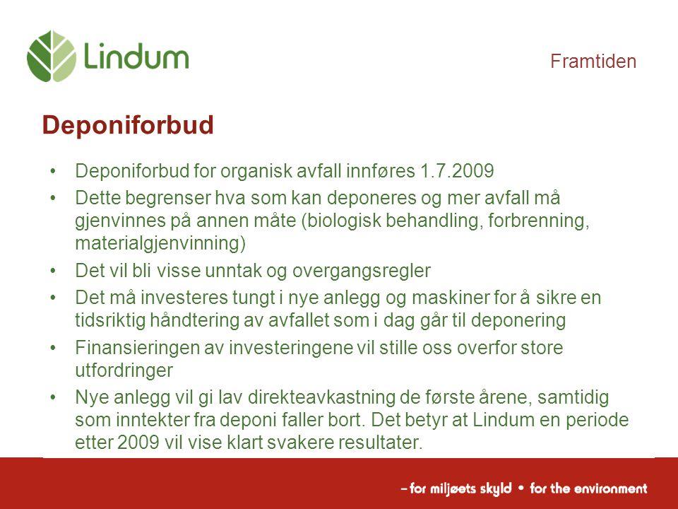 Framtiden Deponiforbud Deponiforbud for organisk avfall innføres 1.7.2009 Dette begrenser hva som kan deponeres og mer avfall må gjenvinnes på annen m