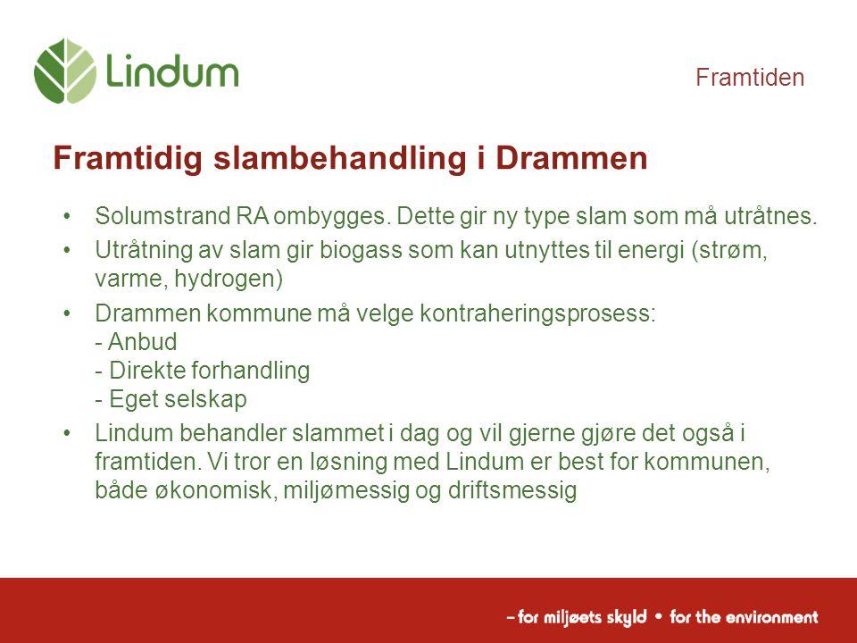 Framtiden Framtidig slambehandling i Drammen Solumstrand RA ombygges. Dette gir ny type slam som må utråtnes. Utråtning av slam gir biogass som kan ut