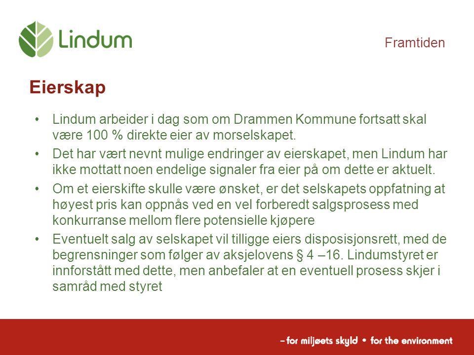 Framtiden Eierskap Lindum arbeider i dag som om Drammen Kommune fortsatt skal være 100 % direkte eier av morselskapet. Det har vært nevnt mulige endri