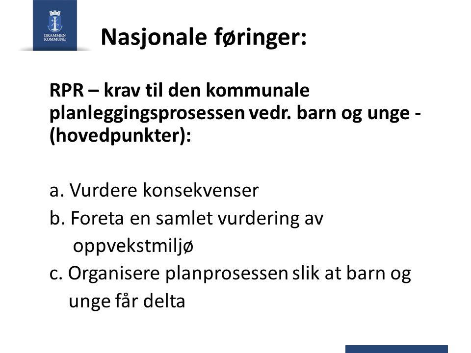 Nasjonale føringer: RPR – krav til den kommunale planleggingsprosessen vedr. barn og unge - (hovedpunkter): a. Vurdere konsekvenser b. Foreta en samle
