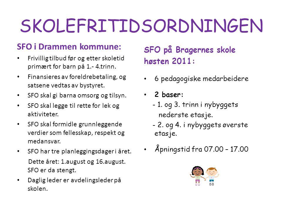 SKOLEFRITIDSORDNINGEN SFO i Drammen kommune: Frivillig tilbud før og etter skoletid primært for barn på 1.- 4.trinn.