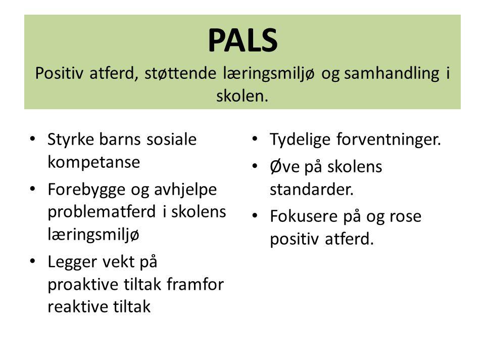 PALS Positiv atferd, støttende læringsmiljø og samhandling i skolen. Styrke barns sosiale kompetanse Forebygge og avhjelpe problematferd i skolens lær