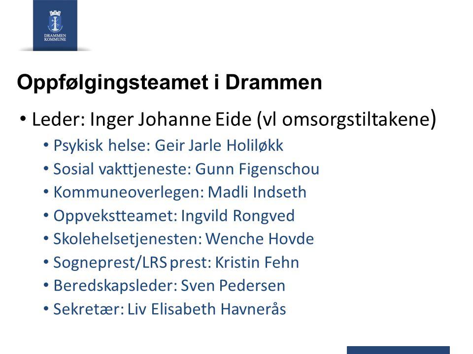 Oppfølgingsteamet i Drammen Leder: Inger Johanne Eide (vl omsorgstiltakene ) Psykisk helse: Geir Jarle Holiløkk Sosial vakttjeneste: Gunn Figenschou K