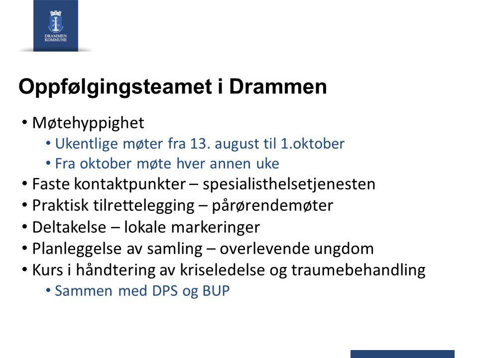 Oppfølgingsteamet i Drammen Møtehyppighet Ukentlige møter fra 13. august til 1.oktober Fra oktober møte hver annen uke Faste kontaktpunkter – spesiali