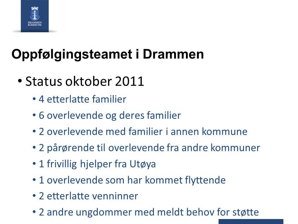 Oppfølgingsteamet i Drammen Status oktober 2011 4 etterlatte familier 6 overlevende og deres familier 2 overlevende med familier i annen kommune 2 pår